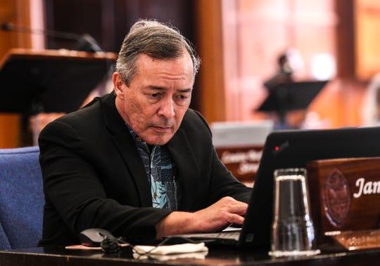 Sen. James Moylan on the session floor at the Guam Legislature on Tuesday, Feb. 26, 2019.
