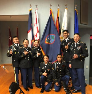 Guam National Guard soldiers completed Basic Leader Course on Feb. 23 in Waimanalo Hawaii. Pictured from left: SSG. Kitalong, BLC Instructor; SPC. Respicio, student disguise leader; SPC. Cruz commandant list; SPC. Hasskamp, SPC. Alfonso, SPC. Munoz and SPC. Castro.