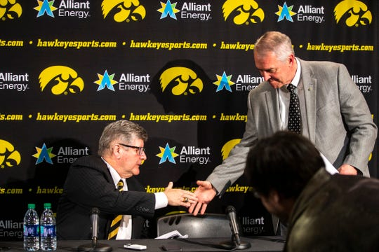 Iowa radio broadcaster Gary Dolphin, left, said he has received a great deal of support from University of Iowa adminstration (including Gary Barta, right) and basketball coach Fran McCaffery since a Feb. 27 press conference.