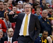 Fran McCaffery reacts to an officiating call in the first half of Iowa's 90-70 loss at Ohio State.