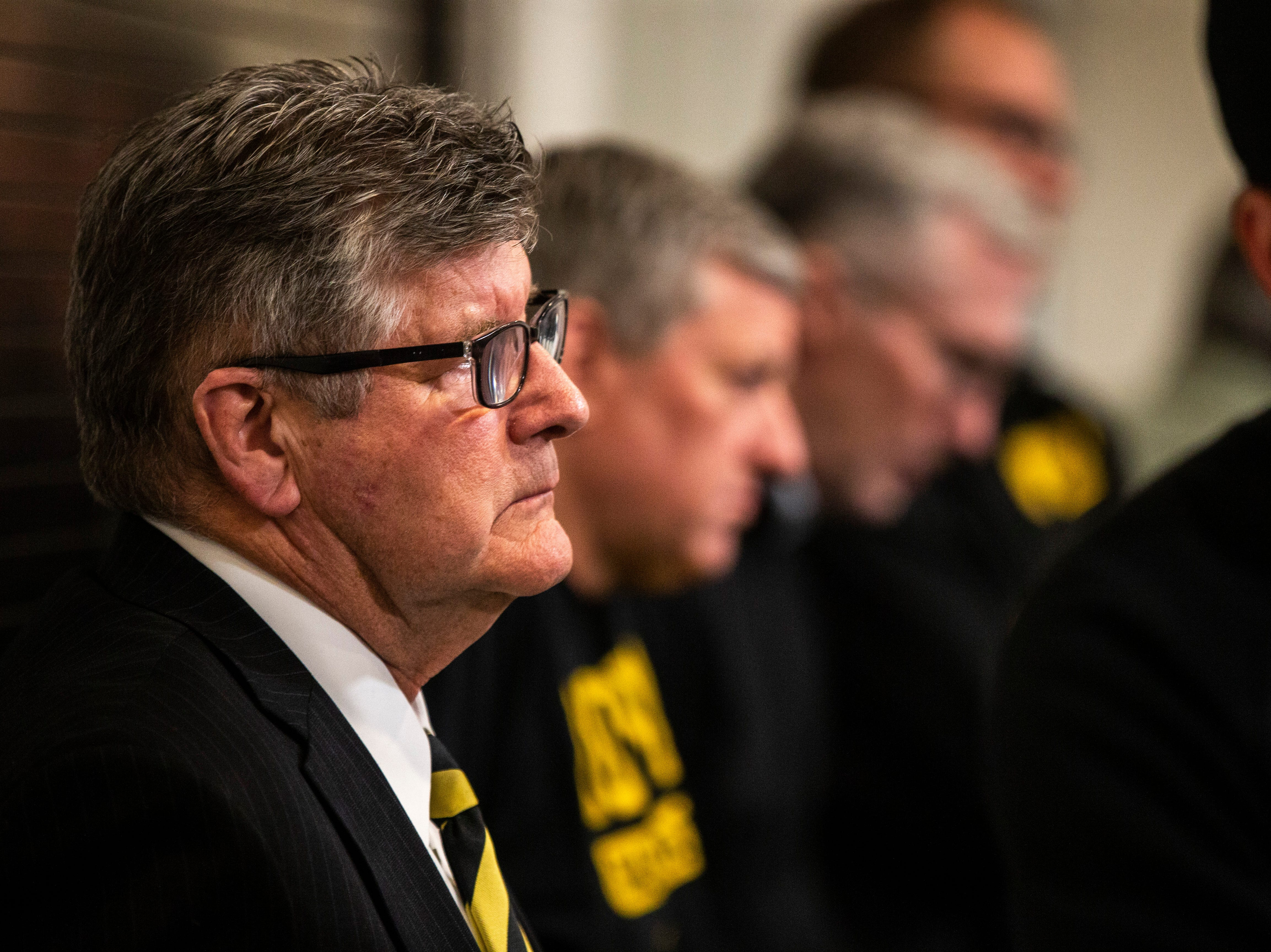 Iowa play-by-play commentator Gary Dolphin listens during a press conference on Wednesday, Feb. 27, 2019, at Carver-Hawkeye Arena in Iowa City, Iowa.