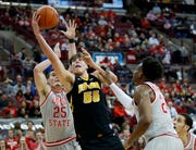 Sophomore Luka Garza looks to score in the first half of Iowa's game Tuesday night at Ohio State.