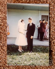 A still image from the   wedding day of Dixie and Orville Bose.