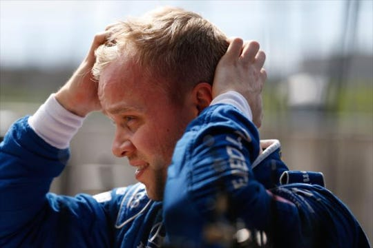 Chip Ganassi Racing rookie Felix Rosenqvist prepares to debrief with his team during the NTT IndyCar Series open test at Circuit of the Americas.