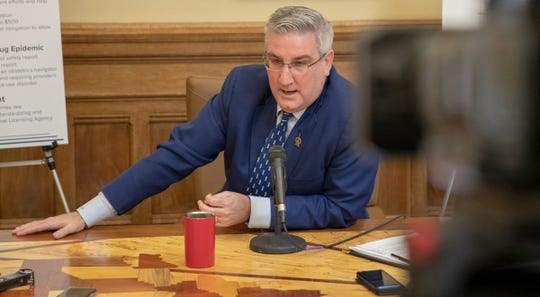 Eric Holcomb gives a a wide-ranging press conference in the Governor's Office, Indiana Statehouse, Indianapolis, Wednesday, Feb. 27, 2019.