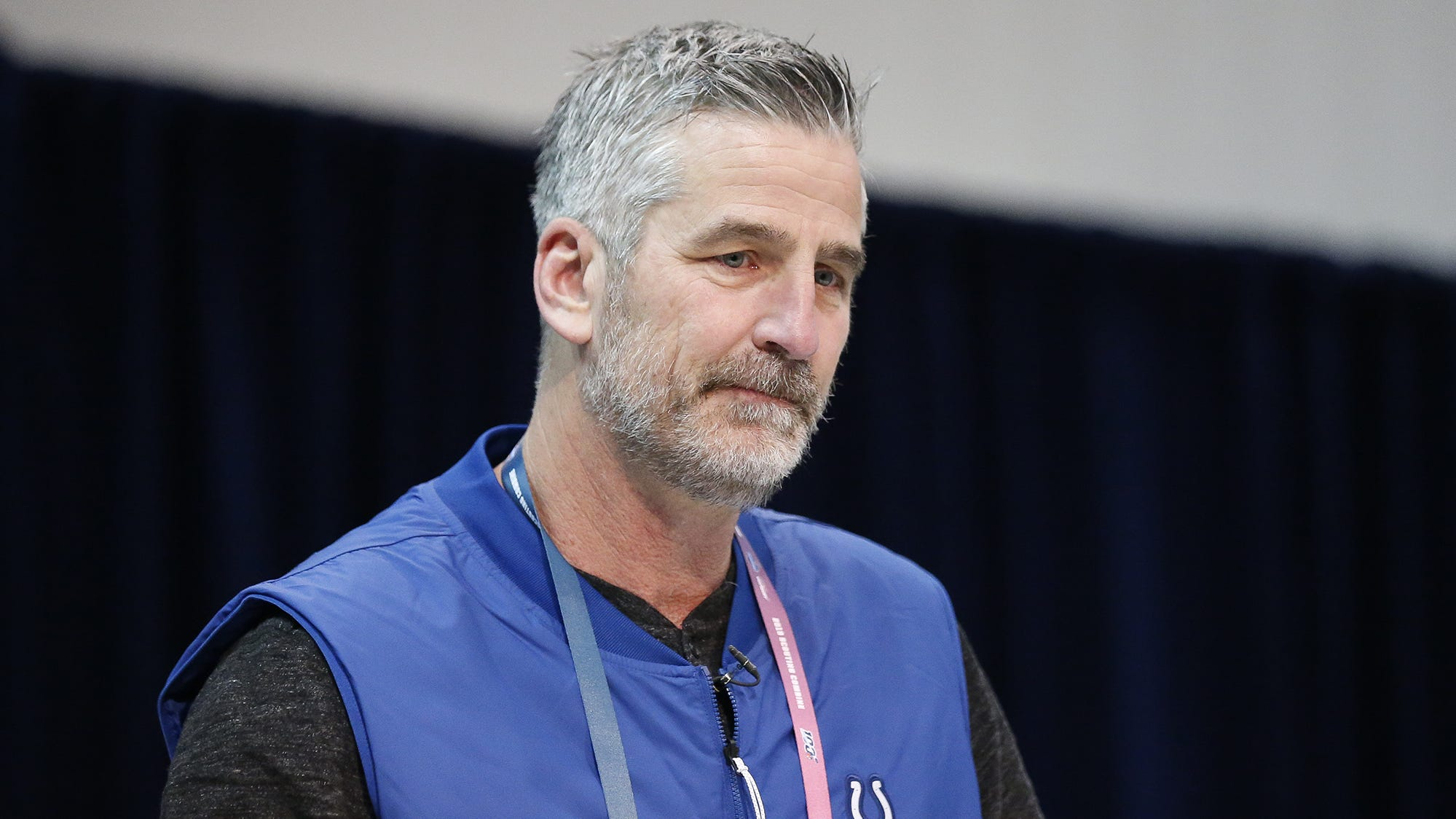 Indianapolis Colts coach Frank Reich speaks to...