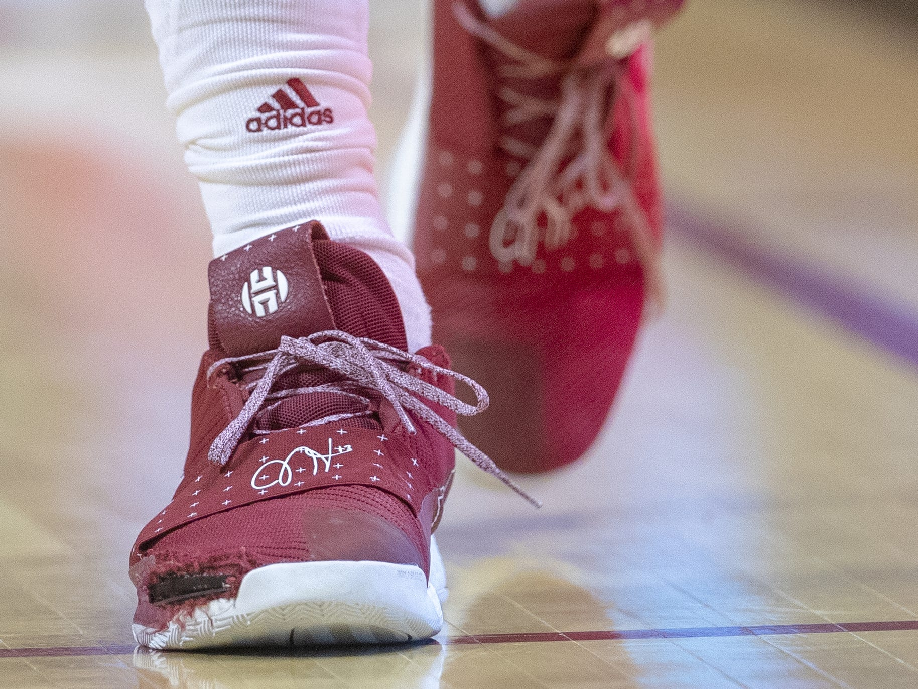A blown apart Adidas shoe of Indiana Hoosiers forward Justin Smith, Assembly Hall, Bloomington, Tuesday, Feb. 26, 2019.