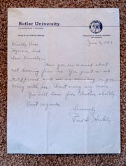 """A Paul """"Tony"""" Hinkle acceptance letter at the home of Orville Bose, Carmel, Friday, Feb. 22, 2019. Bose was a former Butler University great who was coached by Tony Hinkle, namesake of Hinkle Fieldhouse on campus."""
