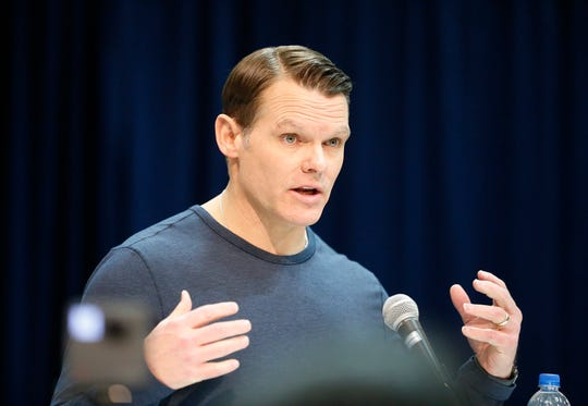 Indianapolis Colts general manager Chris Ballard speaks to the media during the 2019 NFL Combine.