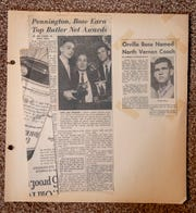 News clippings from the coaching days of Orville Bose, at the home of Bose, Carmel, Friday, Feb. 22, 2019. Bose was a former Butler University great who was coached by Tony Hinkle, namesake of Hinkle Fieldhouse on campus.