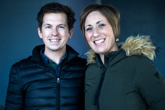 Phil and Rebecca Davidson pose for a portrait on Wednesday, Feb. 27, 2019, along N. Linn Street in Iowa City's Northside District.