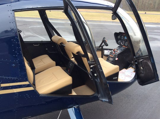The interior of an R44 helicopter