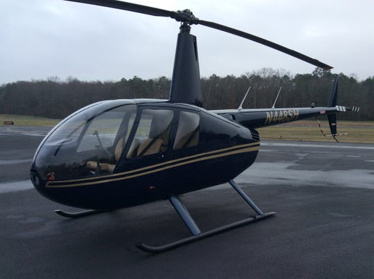 The exterior of an R44 helicopter