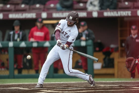 Mississippi State's Landon Jordan knocked in a run via fielder's choice in the sixth inning against Jackson State. Jordan went 1-for-3 with two runs scored in the Bulldogs' victory. Photo by Keith Warren
