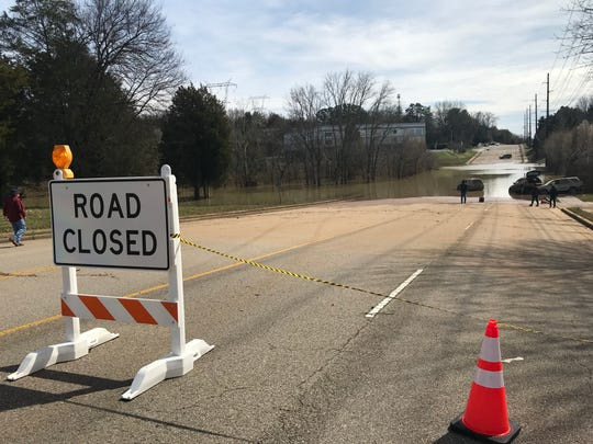 South Peters Road remained flooded Tuesday, Feb. 26, 2019, following 10 days of rain.