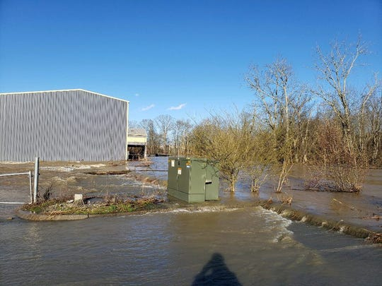 Floodwaters submerged a parking lot after heavy rains in East Tennessee last week.