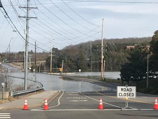 Sections of South Northshore Drive remained closed by flooding Feb. 26. The road reopened Monday.
