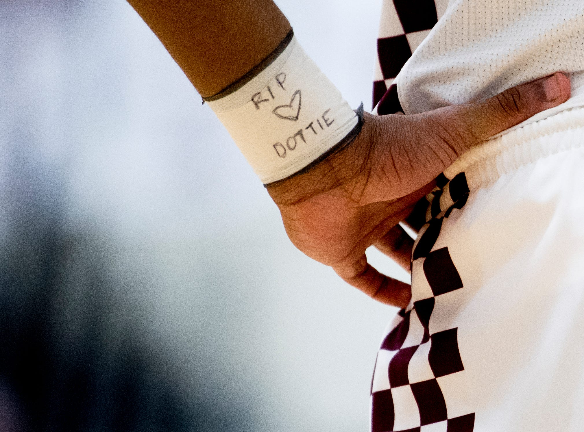 """Bearden's Ques Glover has """"RIP Dottie"""" written on his arm during a Region 2-AAA tournament game between Bearden and Maryville at Oak Ridge High School in Oak Ridge, Tennessee on Tuesday, February 26, 2019."""