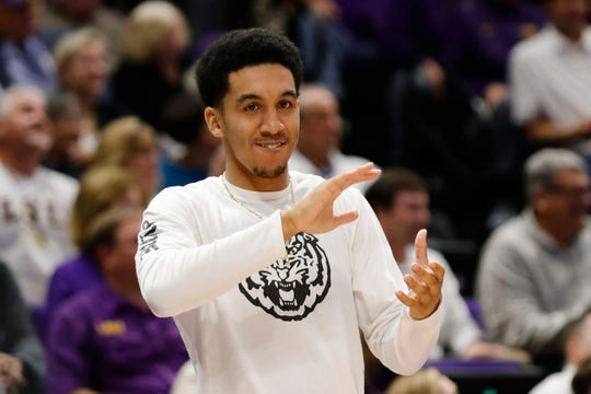 Feb 26, 2019; Baton Rouge, LA, USA;  LSU Tigers guard Tremont Waters (3) reacts to a play against Texas A&M Aggies in the second half at Maravich Assembly Center. Mandatory Credit: Stephen Lew-USA TODAY Sports