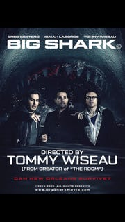 "The promo poster for ""Big Shark,"" starring and directed by Tommy Wiseau."