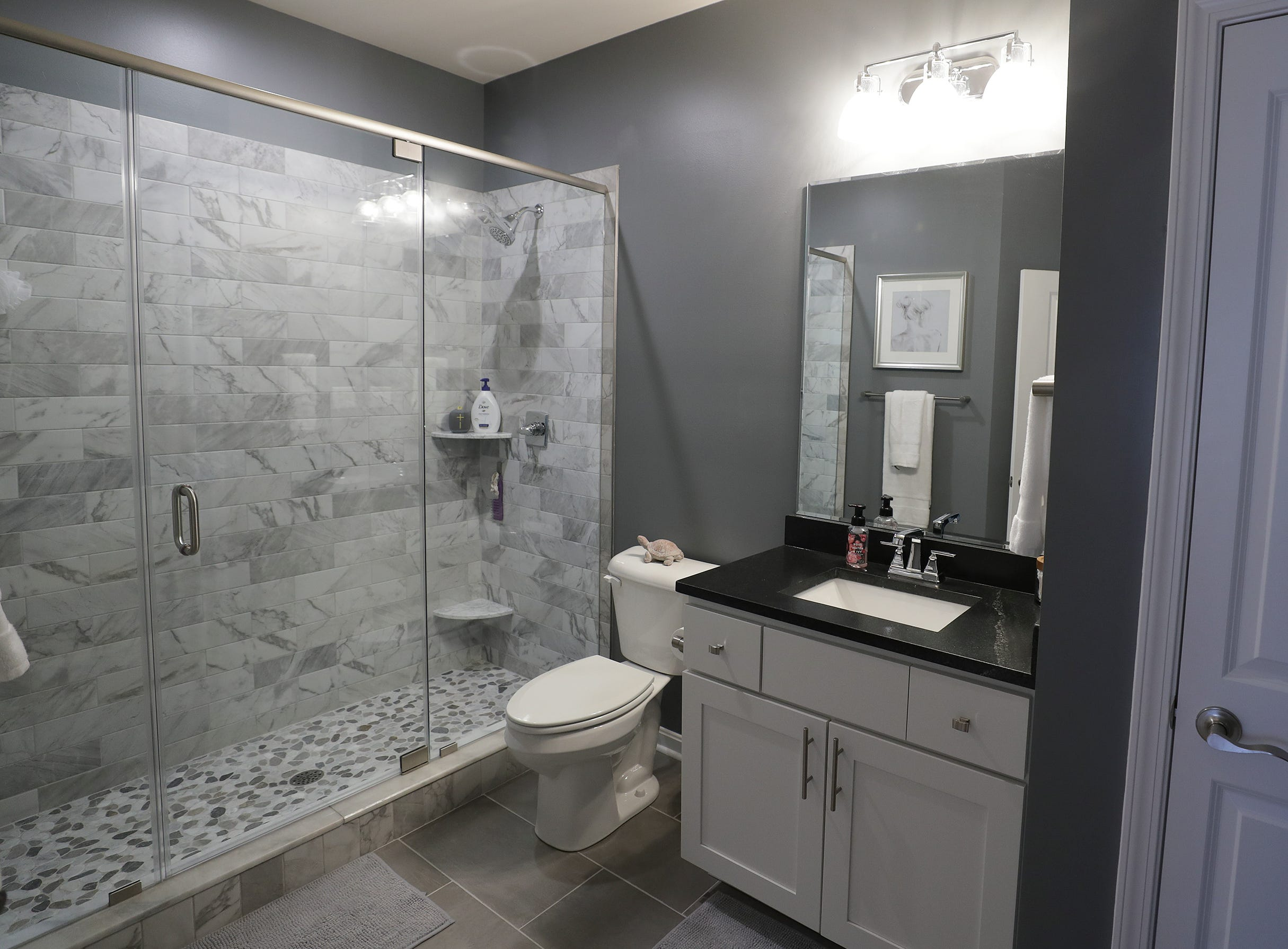 Guest bathroom in the home of Michael and Andria Triplett.