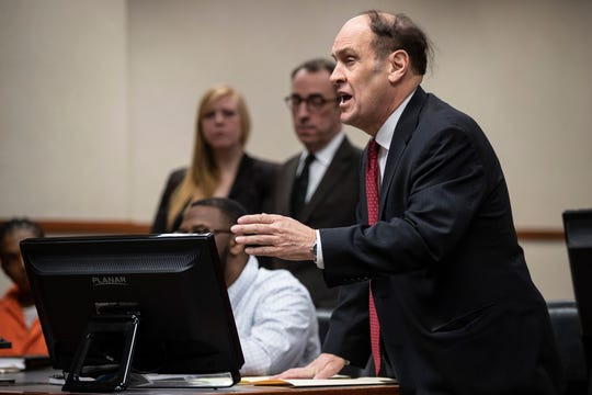 Criminal defense attorney Rob Eggert represents a client at the Jefferson County Judicial Center on Wednesday. Feb. 27, 2019