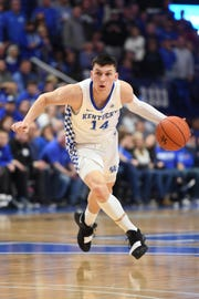 Kentucky guard Tyler Herro, a standout at Whitnall High School, drives against Arkansas on Tuesday in Lexington, Kentucky.