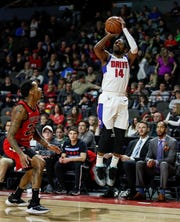 Former Michigan State star Kalin Lucas shoots a jump shot during a game with the G League's Grand Rapids Drive. Lucas returned to his home state in January to play with the Grand Rapids Drive on a two-way contract with the Detroit Pistons.