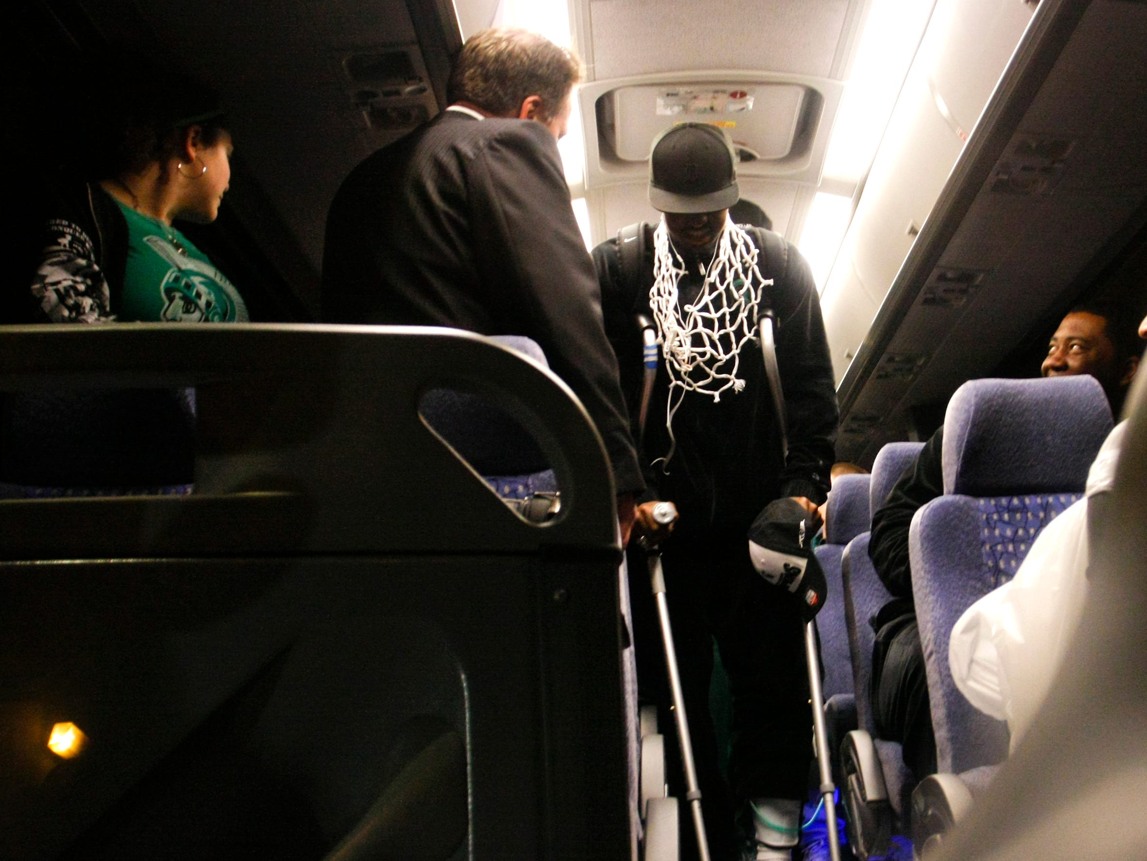 Kalin Lucas is the first to deboard the bus Sunday evening at the Breslin Center after MSU beat Tennessee for another berth in the Final Four.