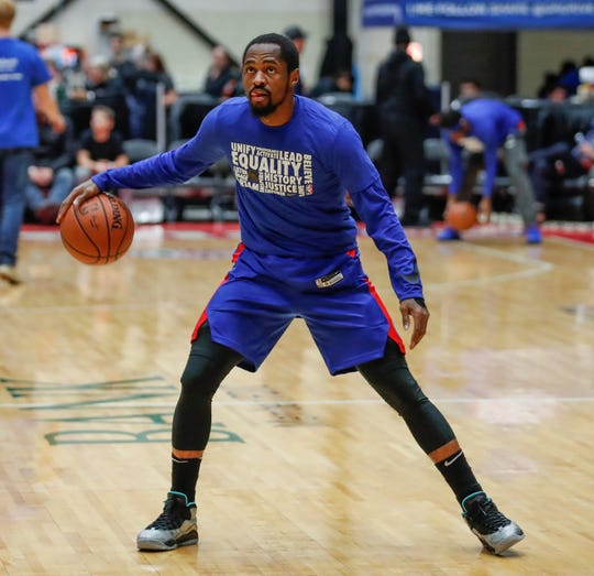 Former Michigan State star Kalin Lucas warms up before a game with the G League's Grand rapids drive. In January, Lucas returned to his home state to sign a two-way contract with the Drive and the Detroit Pistons.