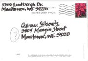 "The envelope that came with Ald. Rhienna Gabriel's letter is addressed to ""Chairman Sitkiewitz"" but was sent to a different address and using a return address that is not her own."
