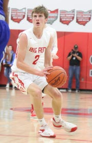 Plymouth's Jacob Adams scored 19 points in his final game in a Big Red uniform on Tuesday night.