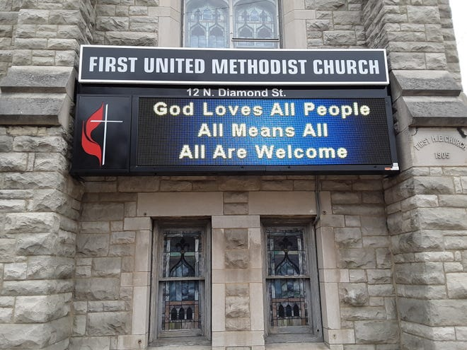 This is the message on a digital sign Wednesday outside the First United Methodist Church at 12 N. Diamond St. in Mansfield.