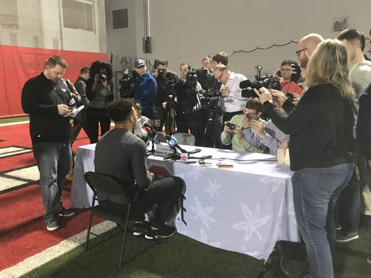 New Ohio State quarterback Justin Fields meets with the media in Columbus for the first time on Feb. 6.