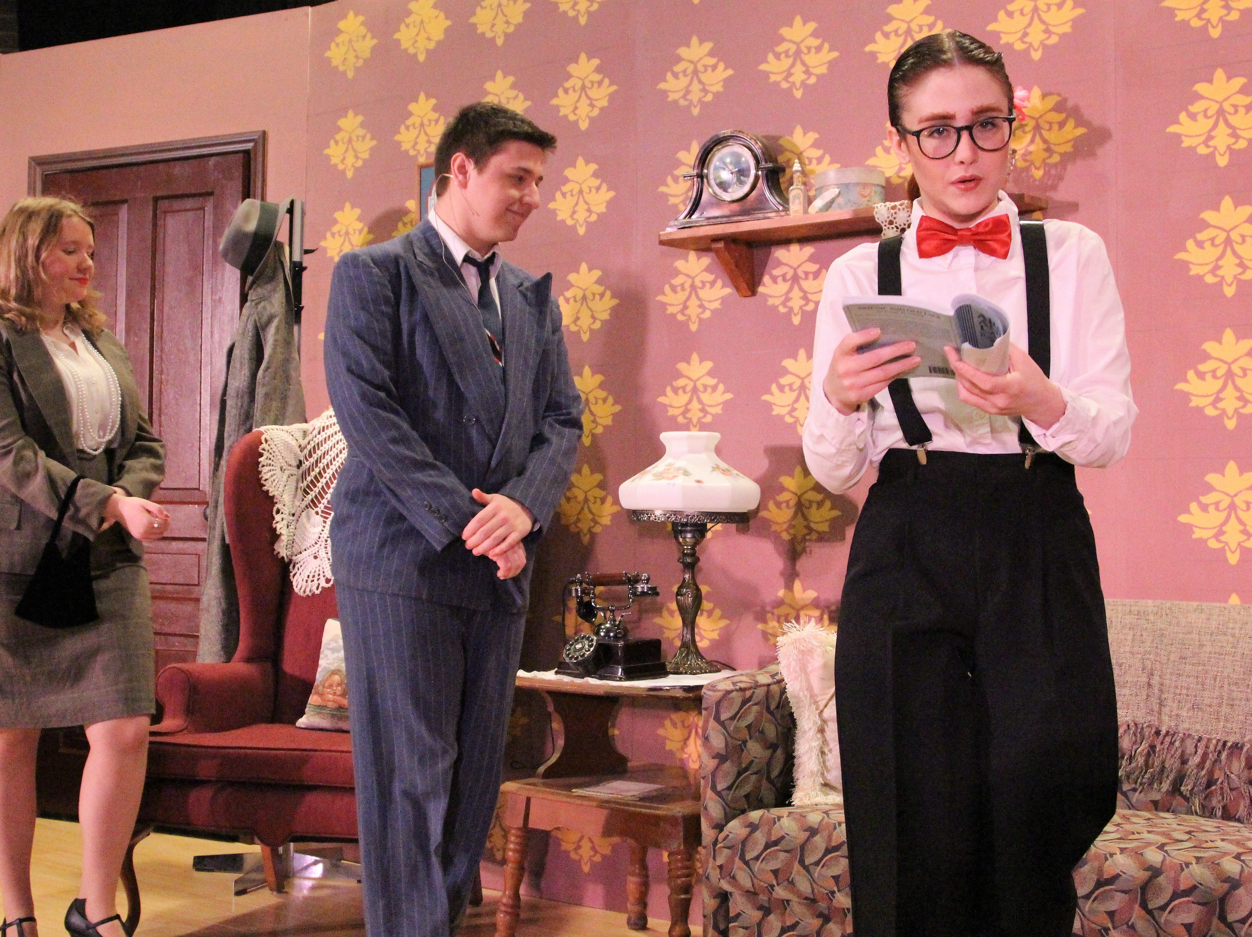 Alex Kauser fills in for her fellow actor Hailee Brewster, who plays Abby Brewster, during a Tuesday evening rehearsal of Arsenic & Old Lace.