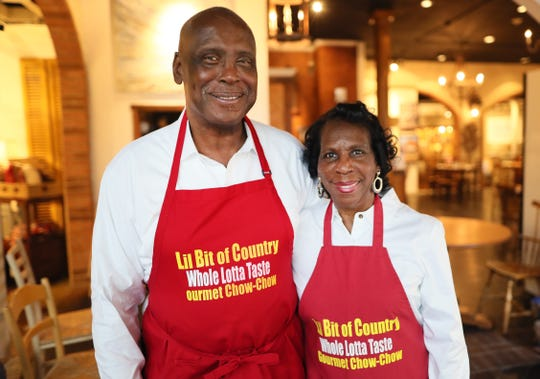Beverly Walker and Waddell Terry, makers of Lil' Bit of Country brand chow chow and jelly varieties, created and bottled by the two-person team, seen here at Palladio Antique Store Cafe Friday, Feb. 22, 2019.