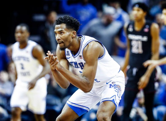 Memphis guard Jeremiah Martin during action against Temple at the FedExForum, Tuesday, February 26, 2019.