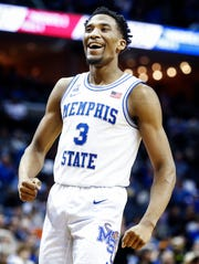 Memphis guard Jeremiah Martin celebrates during a 81-73 victory over Temple at the FedExForum, Tuesday, February 26, 2019.