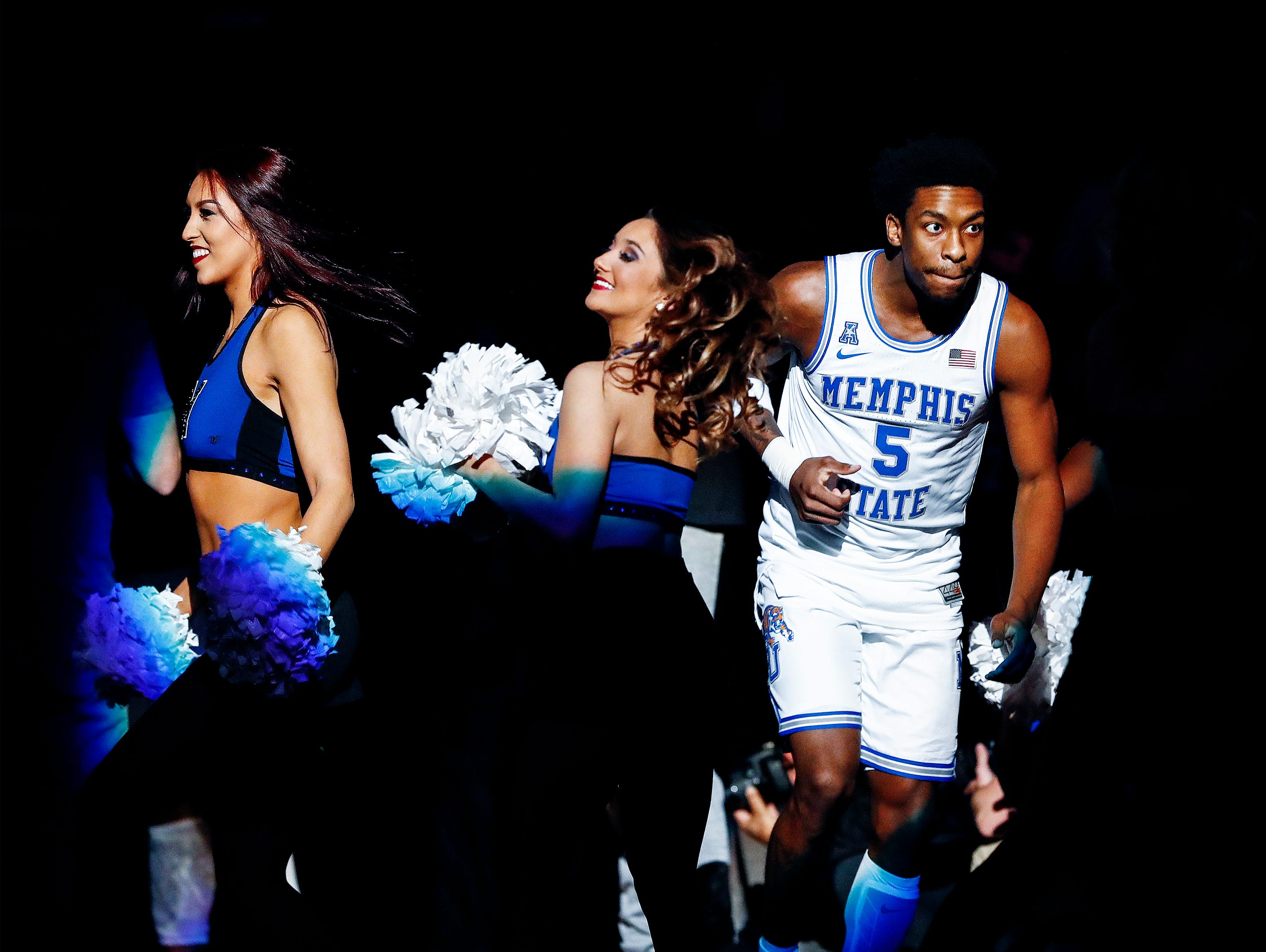 Memphis guard Kareem Brewton Jr. is introduced before taking on Temple at the FedExForum, Tuesday, February 26, 2019.