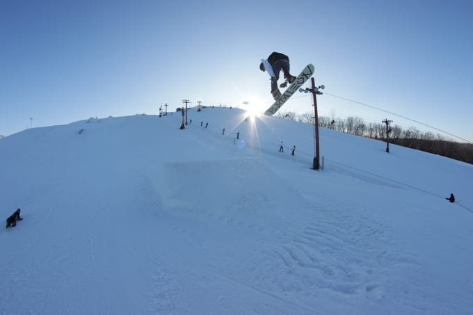 The Rock Snowpark has three terrain parks set up with different jumps, rails and boxes, regular ski runs, and a race run.