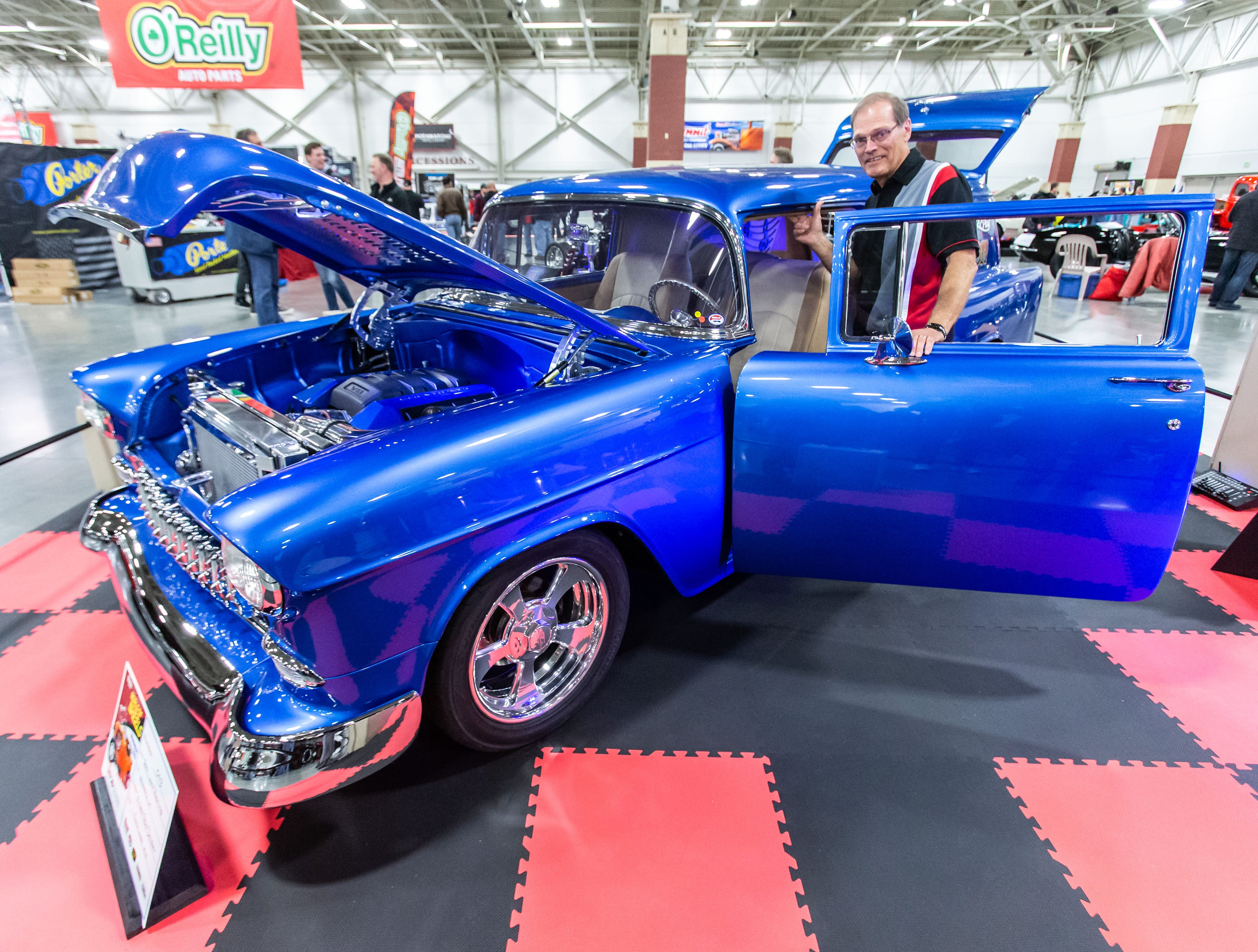 Terry Thuemling of Waukesha displays his 1955 Chevy Delivery Sedan during the 57th annual O'Reilly Auto Parts World of Wheels at State Fair Park in West Allis on Saturday, Feb. 23, 2019. The event features over 300 vehicles, celebrity appearances, vendors, a charity auction and more.