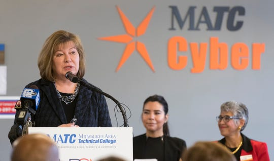 Milwaukee Area Technical College President Vicki Martin announces that the college is seeking to be named a Hispanic Serving Institution Wednesday, Feb. 27, 2019, at the MATC Education Center at Walker Square, 816 W. National Ave., Milwaukee.