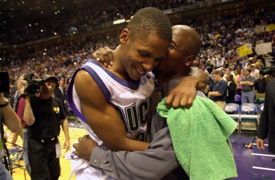 Star guard Ray Allen is embraced after the Milwaukee Bucks defeated the Philadelphia 76ers in Game 6 of the Eastern Conference finals on June 1, 2001 at the Bradley Center.