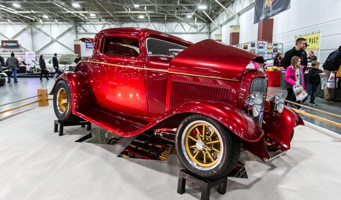 A 32 Ford street rod built by John Burnside of Franklin sparkles under the lights during the 57th annual O'Reilly Auto Parts World of Wheels at State Fair Park in West Allis on Saturday, Feb. 23, 2019. The event features over 300 vehicles, celebrity appearances, vendors, a charity auction and more.