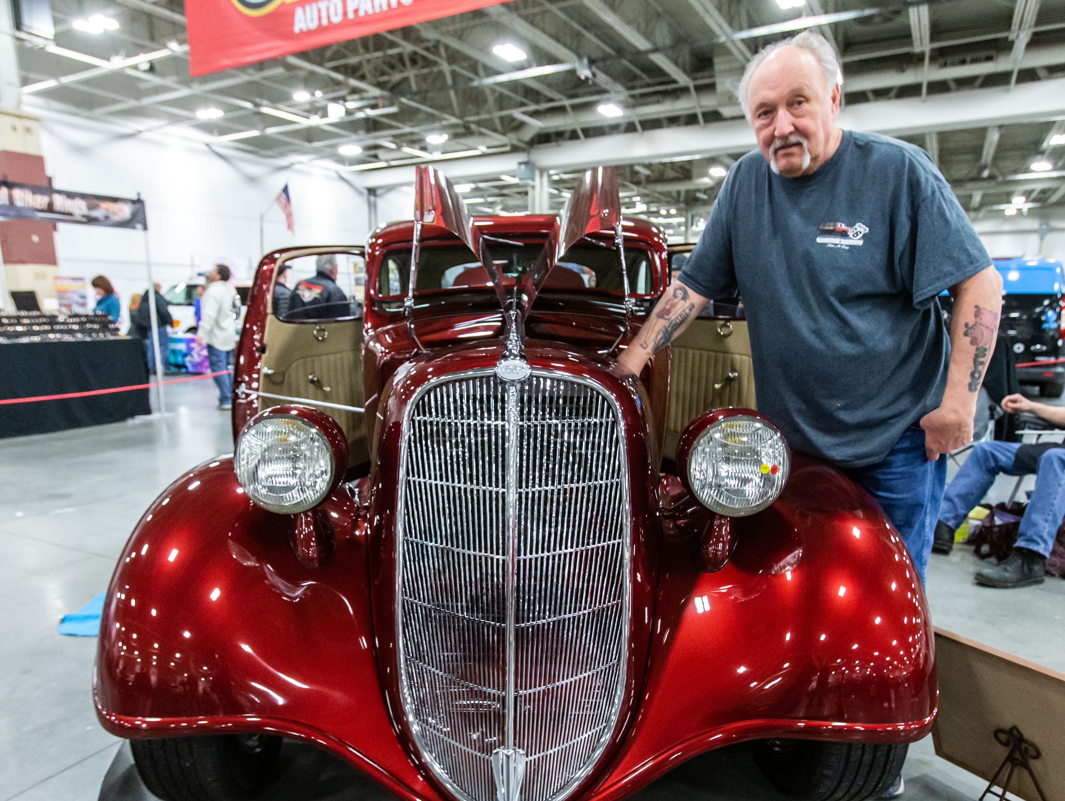 Jim Racinowski of Whitewater shows his 1935 Hudson Terraplane during the 57th annual O'Reilly Auto Parts World of Wheels at State Fair Park in West Allis on Saturday, Feb. 23, 2019. The event features over 300 vehicles, celebrity appearances, vendors, a charity auction and more.