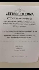 A letter has been shared tens of thousands of times asking for pictures of dogs to send to Emma.