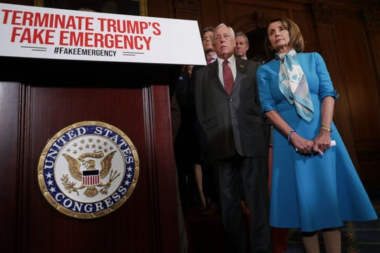 Speaker of the House Nancy Pelosi (D-Calif.) is joined by House Majority Leader Steny Hoyer (D-Md.) and other House Democrats for a news conference on the Privileged Resolution to Terminate President Donald Trump's emergency declaration Feb. 25, 2019, in Washington, D.C. The House Tuesday passed a resolution to abolish Trump's declaration of a national emergency to build a U.S.-Mexico border wall.