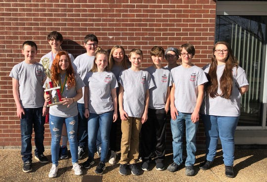 The Norfork Junior High quiz bowl placed second at the Class 1A State Quiz Bowl Tournament on Saturday in Morrilton. Members of the team are: (first row, from left) Preston Seay, Madison Hall, Ashton Beavers, Jesse Maple, Harley Lawhorn Trakker Estes and Emily Sechrest, (second row) Elliott Ruegsegger, Billy Branscum, Amber Weber and Dakota Biggerstaff. Ruegsegger was awarded State Tournament MVP award and Madison Hall earned All-Tournament honors. The team is coached by Stacy Havner and Pam Braun.