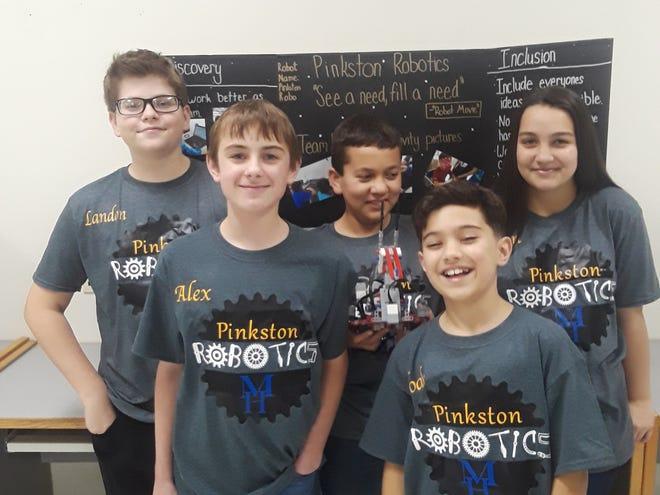 Members of theThe Pinkston Robotics, a First Lego League team, are: (first row, from left)Alex Harris, Noah Dickerson, (second row)Landon Shurley, Ash Wood andLoren Davis.