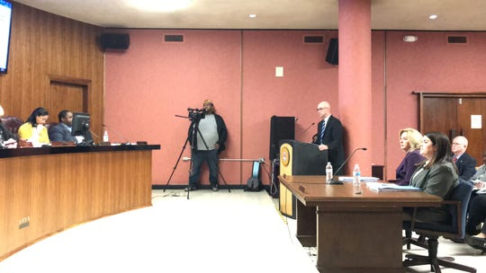 Adam Parker, an attorney with Butler Snow who represents the SEDD, addressed the Monroe City Council to  discuss a 0.55 percent sales tax proposal.